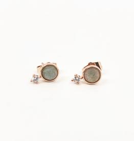 Thea Stud Earrings Gold/Moonstone or Gold/Labradorite