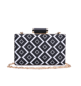 Accessories Bora Bora - Beaded Black and White Clutch W/ Gold Chain Strap