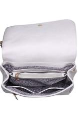Jonah - handbag w/ studded tassel, textured shoulder strap, and zipped phone pocket in flap, cream
