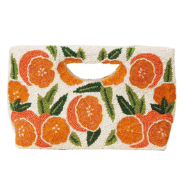 Accessories Cut out handle clutch in ivory/green or ivory/orange