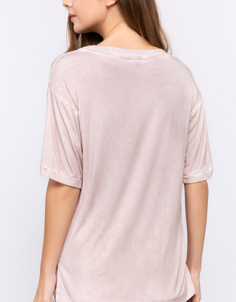 Women's Clothing Knit Top W/ Ribbed Detail on Neckline, Sleeve, and Pocket W/ Mini Lace Pocket