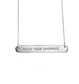 Enjoy Your Existence Bar Tag Necklace; SS Chain