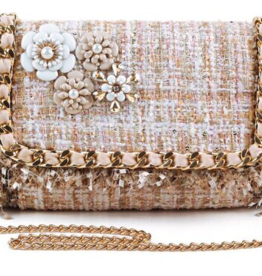 Daisy Crossbody - silver or gold threading, unfinished yarn texture, and 4 floral broaches on flap