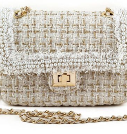 Tiffany Bag - gold threading, unfinished yarn, and rows of pearl beads
