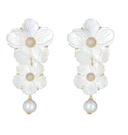 Linked Posey Earrings - larger flower post w/ gold CZ center and smaller drop flower underneath w/ large pearl bead on bottom