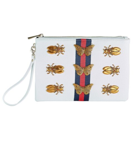 Ivy Wristlet - White w/ navy/red center stripe and gold creatures