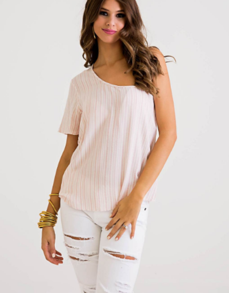 Women's Clothing Striped One Shoulder Top