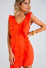 Women's Clothing Solid Linen Ruffle Button Down Dress