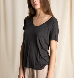 Women's Clothing U Neck Pocket Tee