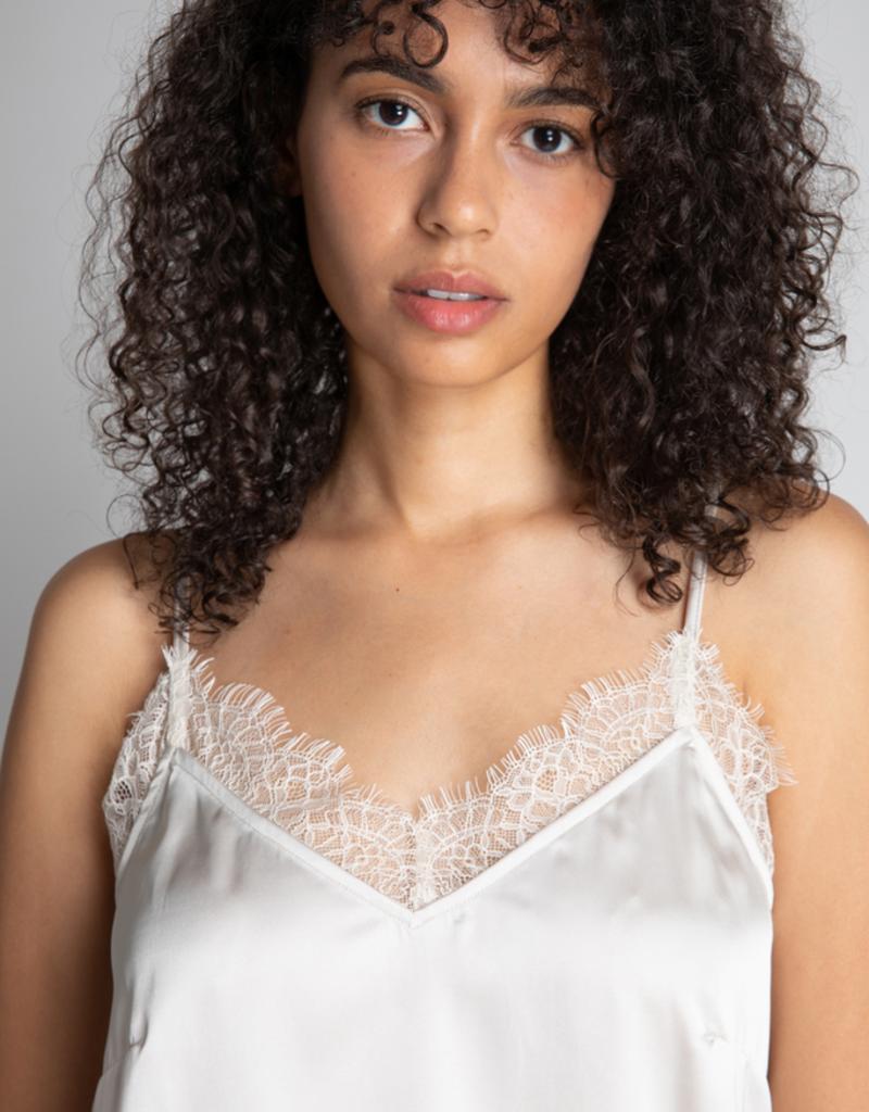 Women's Clothing Lace Neckline Satin Cami