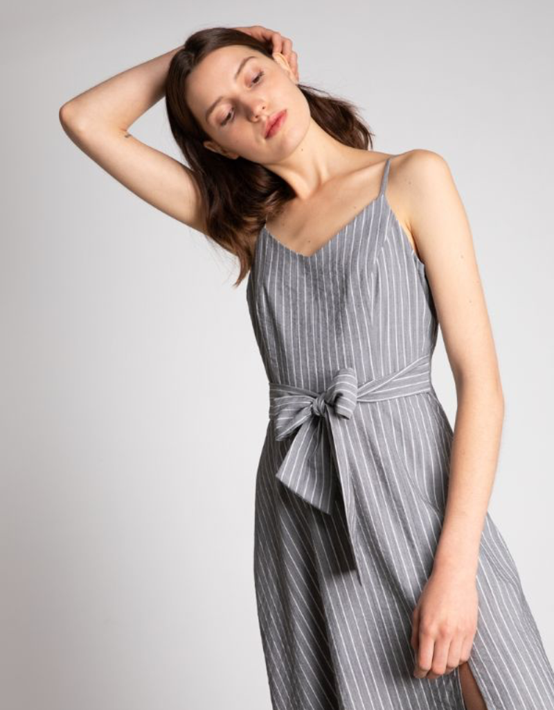 Women's Clothing Striped Fit & Flare Slit Dress