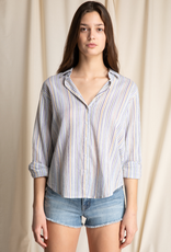 Women's Clothing Striped Button Up