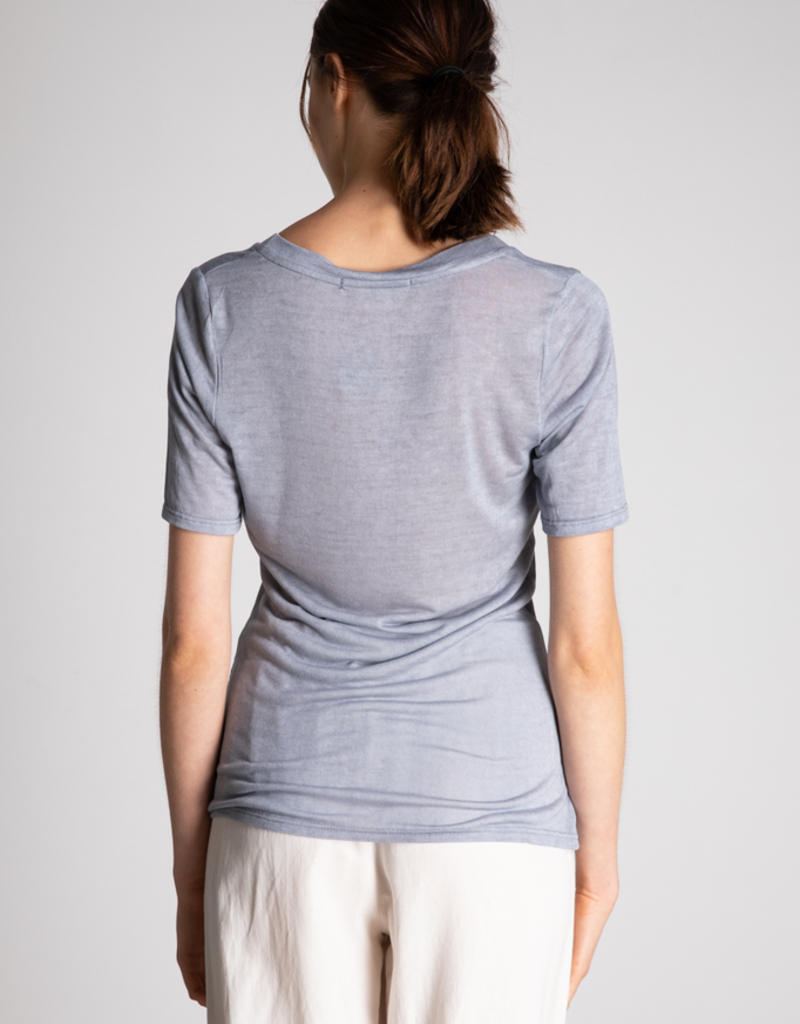 Women's Clothing Wide U Neck Tee