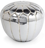 POLISHED STEEL METAL POUF