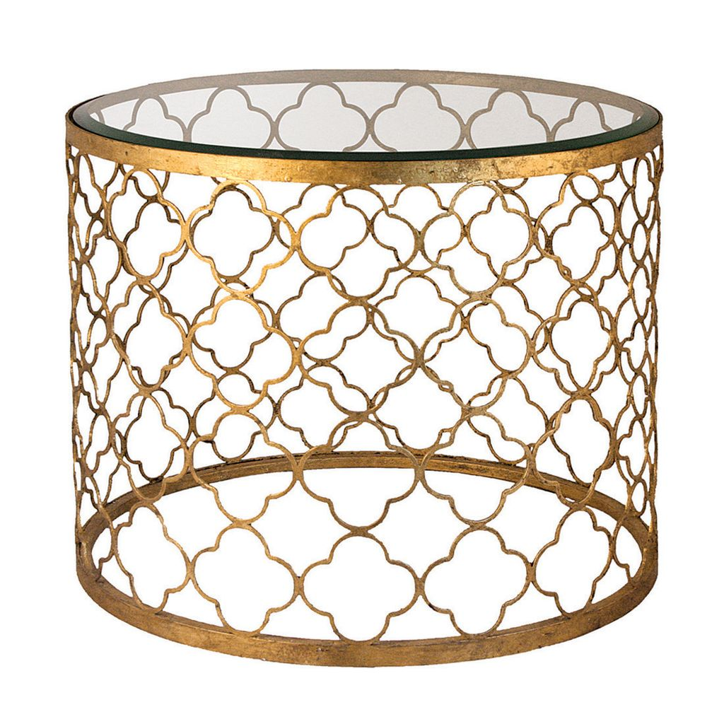 GOLD LEAF BEVELED GLASS TOP TABLE
