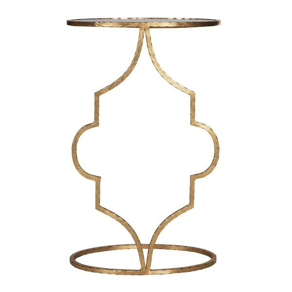 HAMMERED GOLD LEAF OVAL CIGAR TABLE