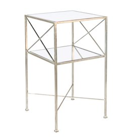 TWO TIER SILVER LEAF SIDE TABLE
