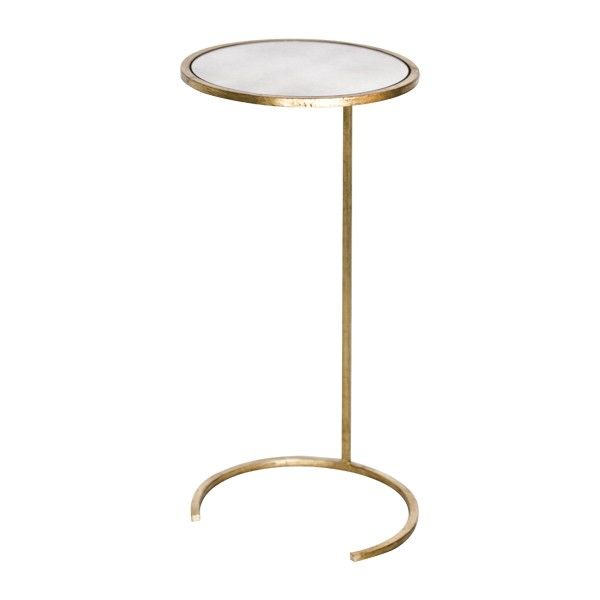 ROUND CIGAR TABLE IN GOLD LEAF WITH ANTIQUE MIRROR TOP