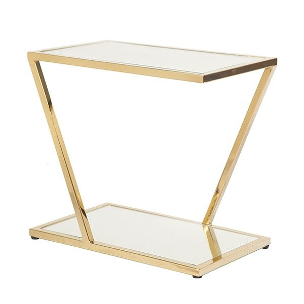 WORLDS AWAY MIXON BRASS SIDE TABLE