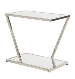 WORLDS AWAY MIXON NICKEL SIDE TABLE
