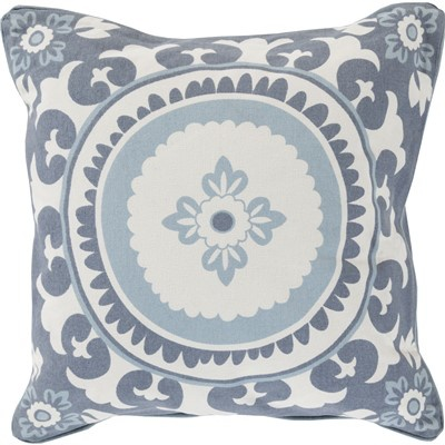 SURYA CELESTIAL SLATE & IVORY DECORATIVE PILLOW