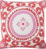 SURYA CELESTIAL POPPY RED & CARNATION PINK DECORATIVE PILLOW