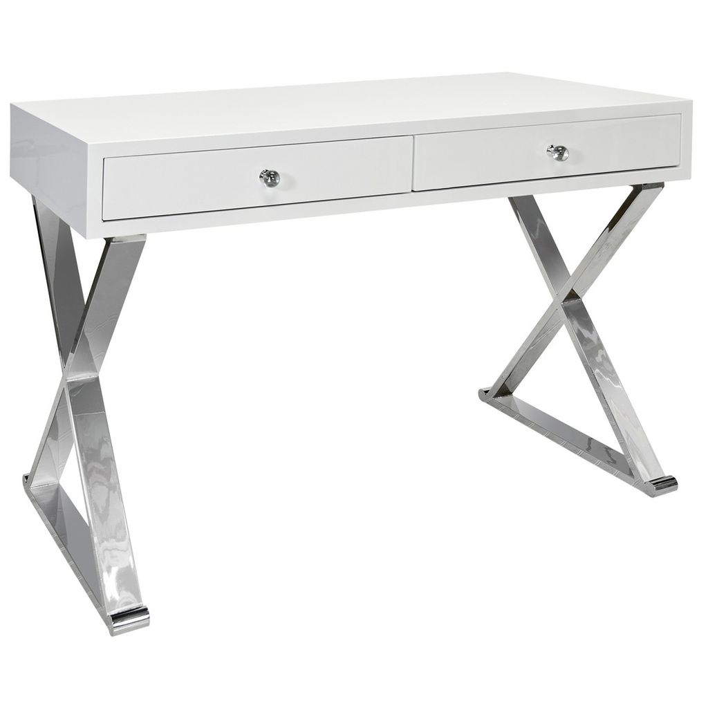 WORLDS AWAY JARED WHITE & STAINLESS STEEL DESK