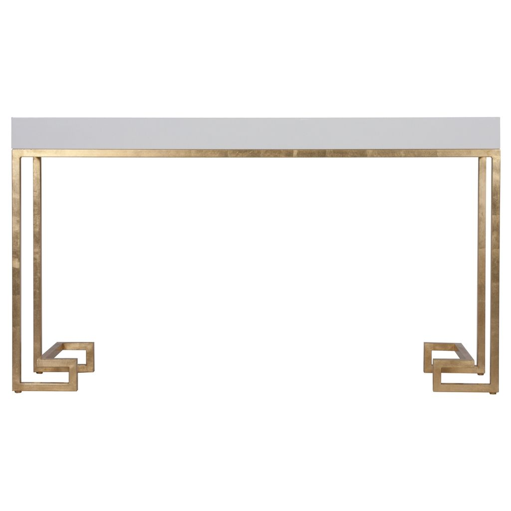 WORLDS AWAY BARSANTI WHITE LACQUER CONSOLE WITH GOLD LEAF GREEK KEY BASE