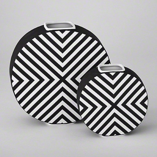 Chevron Vase-Matte Black & White