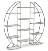REGINA ANDREW HOOP ETAGERE- POLISHED STAINLESS STEEL