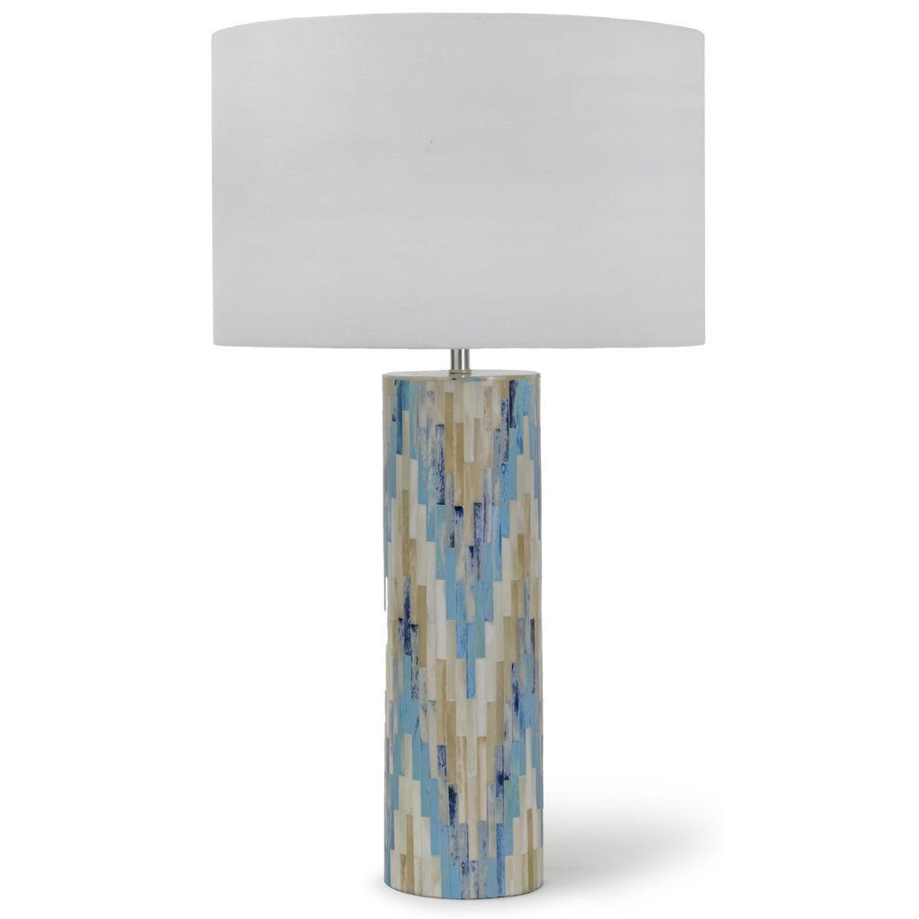 REGINA ANDREW AQUA MOSAIC BONE CHEVRON LAMP
