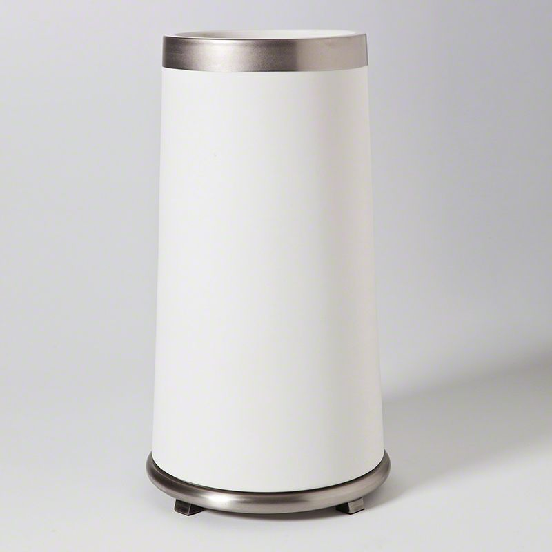GLOBAL VIEWS TALL ENCIRCLE VASE IN WHITE WITH PLATINUM