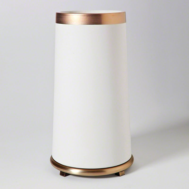 GLOBAL VIEWS TALL ENCIRCLE VASE IN WHITE WITH GOLD