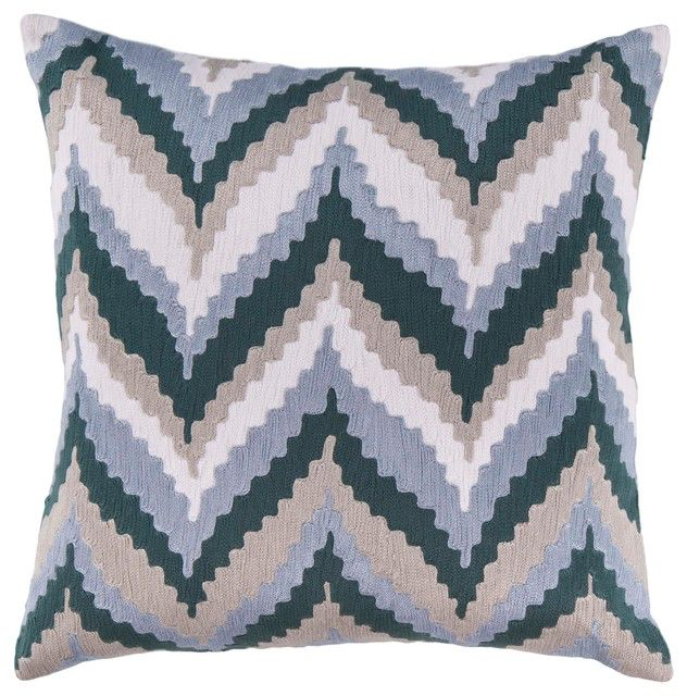 SURYA IKAT CHEVRON PILLOW IN NAVY, SLATE, BEIGE & IVORY