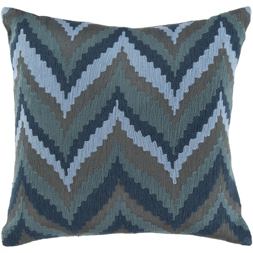 SURYA IKAT CHEVRON PILLOW IN SLATE, TEAL, GRAY & MOSS