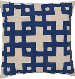 SURYA LAYERED BLOCKS PILLOW IN NAVY