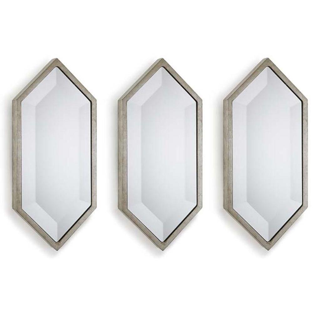 REGINA ANDREW SILVER SET OF 3 DIAMOND WALL PANEL MIRRORS