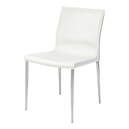 NUEVO COLTER DINING CHAIR IN WHITE LEATHER