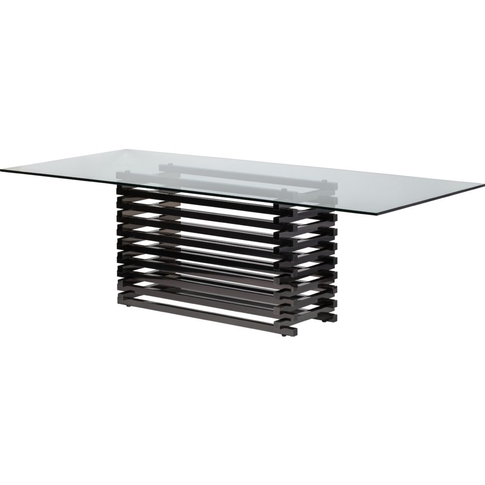 NUEVO STACKED DINING TABLE IN POLISHED BLACK STAINLESS