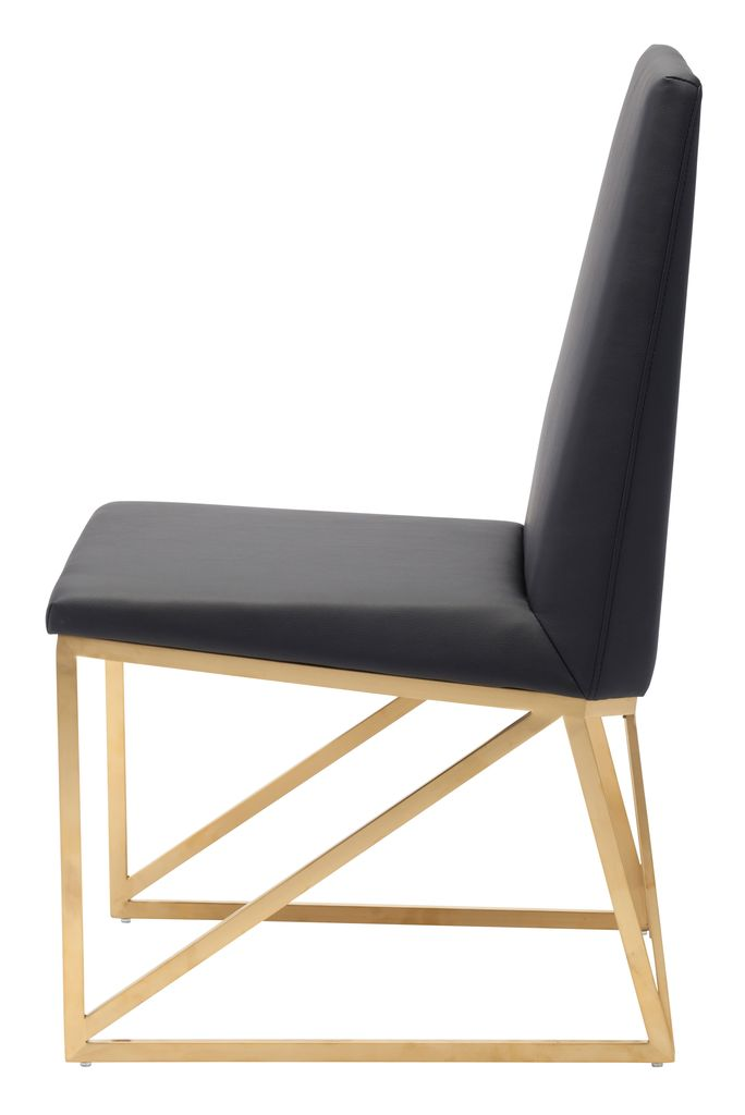 NUEVO CAPRICE DINING CHAIR IN BLACK W/ GOLD FRAME
