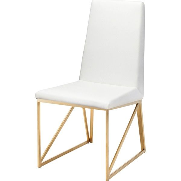 NUEVO CAPRICE DINING CHAIR IN WHITE W/ GOLD FRAME