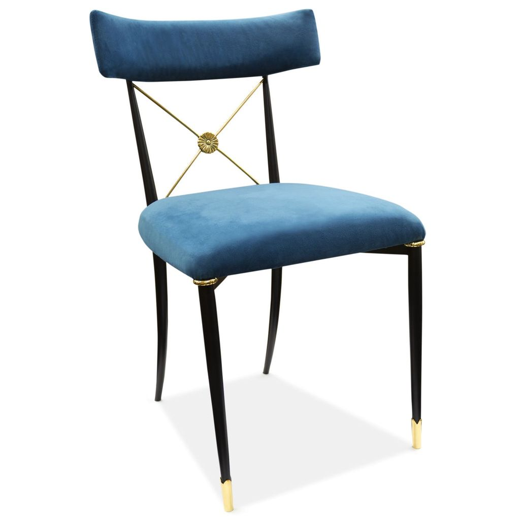 JONATHAN ADLER RIDER DINING CHAIR IN TEAL AND BRASS