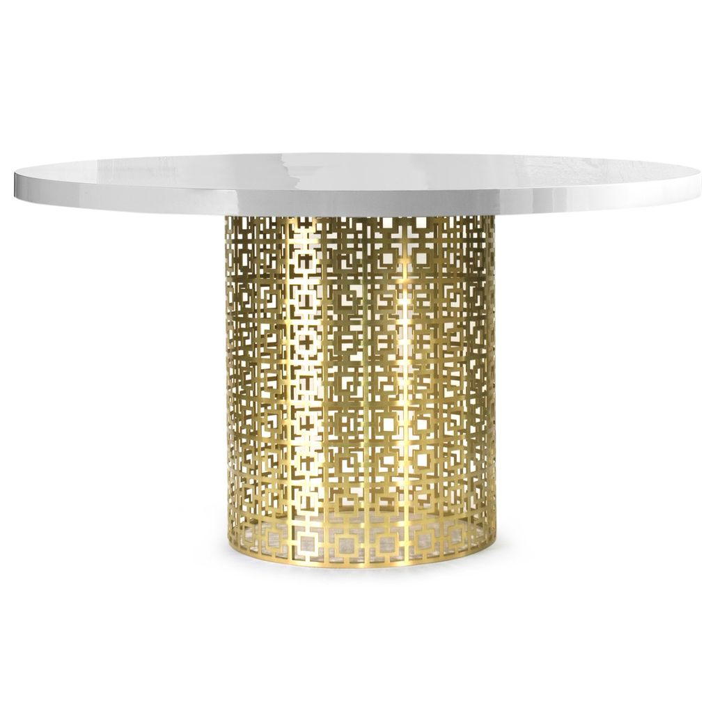 JONATHAN ADLER NIXON DINING TABLE - WHITE GLOSS AND BRASS