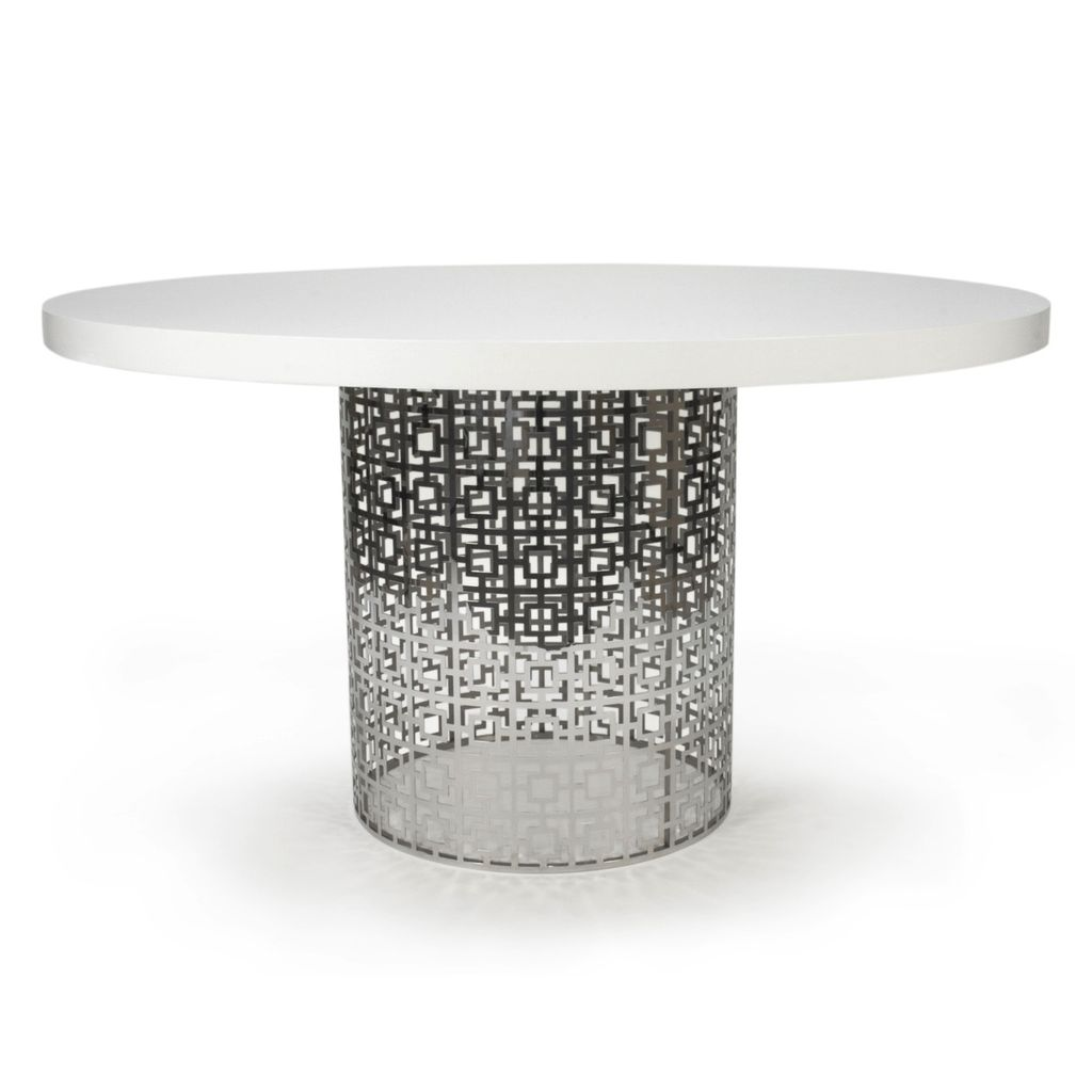 JONATHAN ADLER NIXON DINING TABLE - WHITE GLOSS AND NICKEL