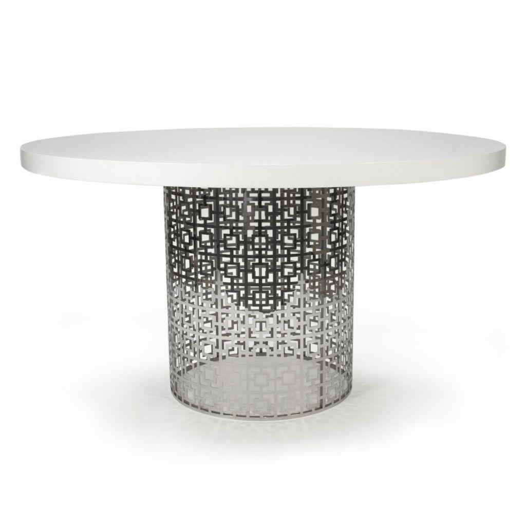 JONATHAN ADLER NIXON DINING TABLE - WHITE GLOSS AND NICKEL