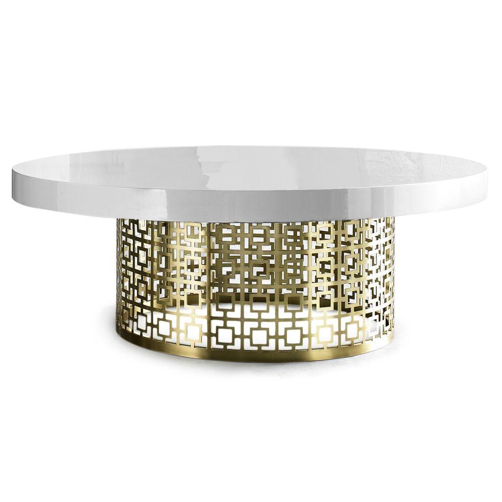 JONATHAN ADLER NIXON COCKTAIL TABLE - WHITE GLOSS AND BRASS