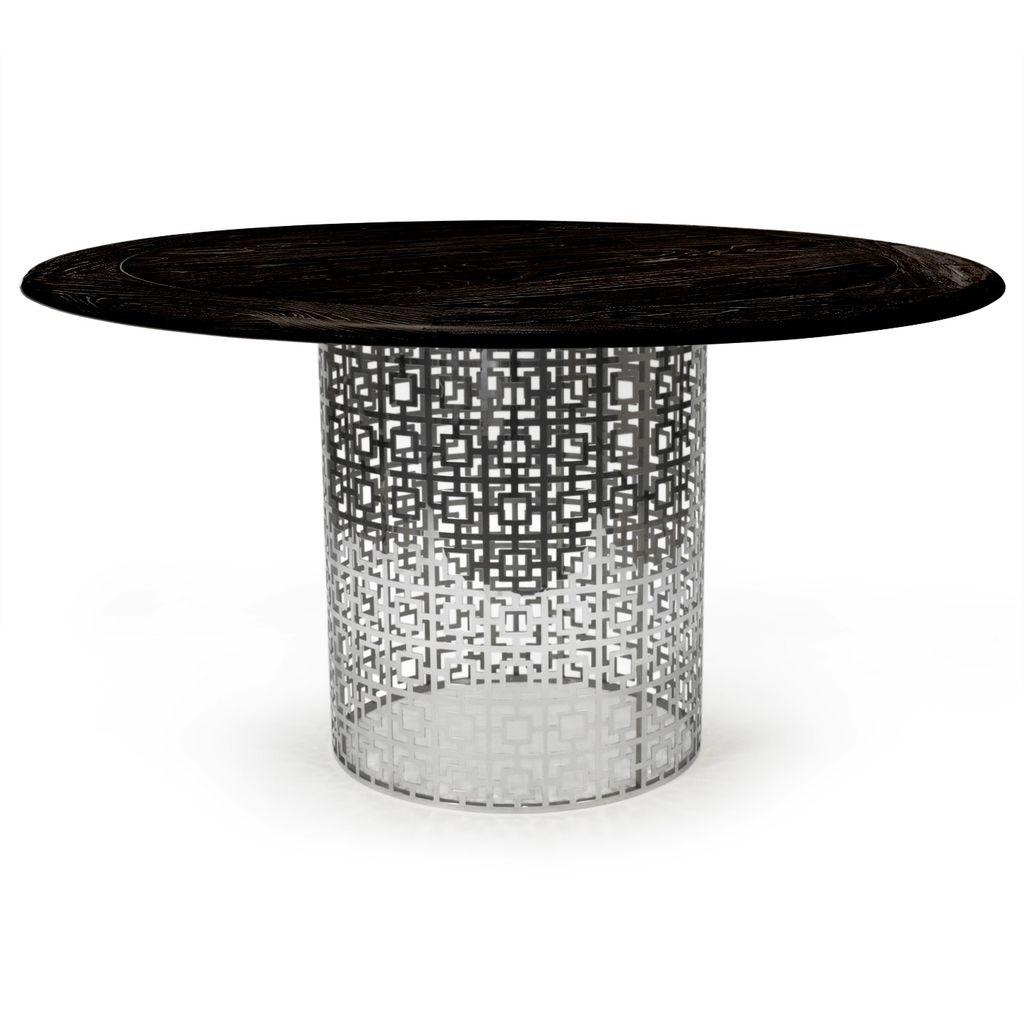 JONATHAN ADLER NIXON DINING TABLE (NICKEL/BLACKENED ELM)