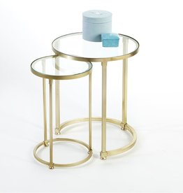 TOZAI HOME S/2 ARC BRASS TABLES