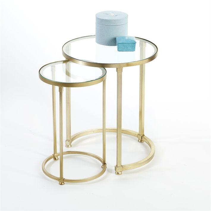 TOZAI HOME S/2 ARC BRASS TABLES