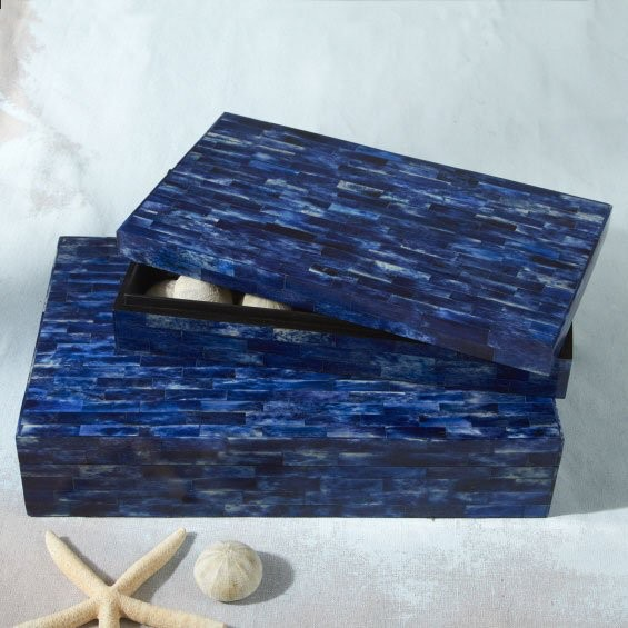 TOZAI HOME S/2 LAPIS TILES BOXES BONE/SHEESHAM WOOD